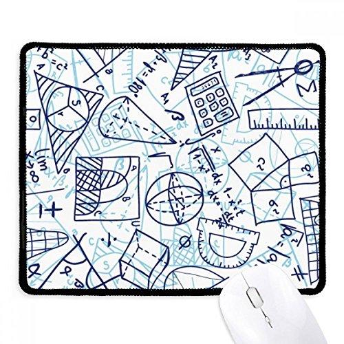 Blau handbemalt Mathematische Lineal Taschenrechner Illustration rutschfeste Mauspad Spiel Office schwarz titched Kanten Geschenk
