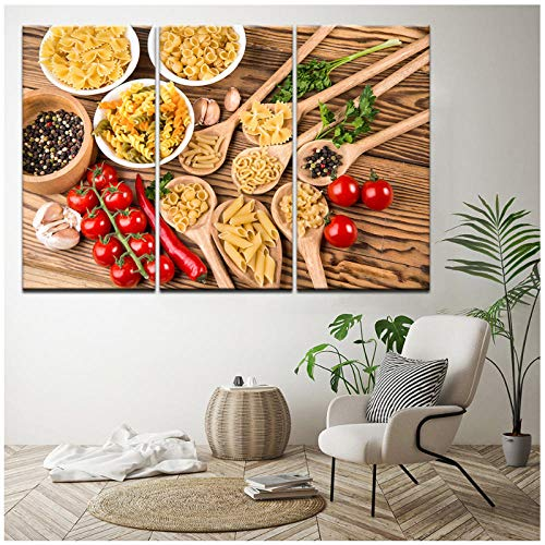 woplmh Canvas Pictures Home Decor 3 Pieces Italian Pasta Food Spices Paintings HD Printed Cooking Poster Modular Kitchen Wall Art-40x80cmx3pcs(No Frame)