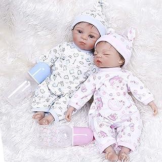 Reborn lalki dla dzieci 35 CM silikon Reborn Premie małe dziecko bardzo miękkie bliźniaki w różowej i niebieskiej sukience...