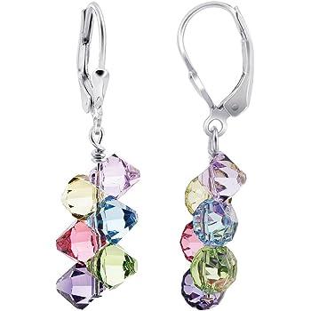 Swarovski Elements Multicolor Crystal Women's Handmade Drop Earrings with 925 Sterling Silver Secure Leverback