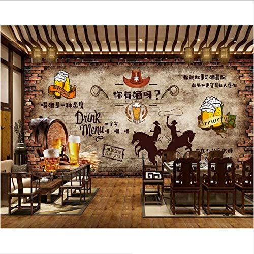 Zybnb Vintage baksteen muur bier bar restaurant achtergrond muur gebakken kip winkel muurschildering goedkoop 3D behang