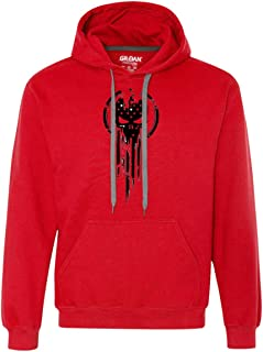 American Warrior Flag Skull Military Sweat-Shirt Army S-3XL Heavyweight Pullover Fleece Sweatshirt
