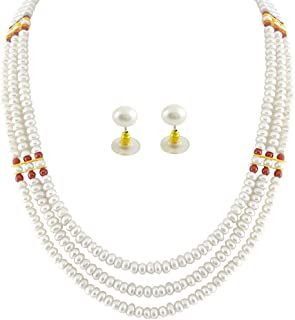 Trendy Souk Women's Simply Royal AAA Quality, High Luster, Real Fresh Water, Hyderabadi Pearls Necklace Set