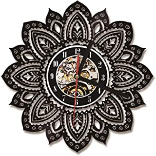 YJSMXYD Wall Clocks Cd Record Clock Hollow Lotus Led 3D Flower Home Wall Decoration Hanging Clock Vinyl Record Clock Ideal for Any Room in Home Kitchen Office School