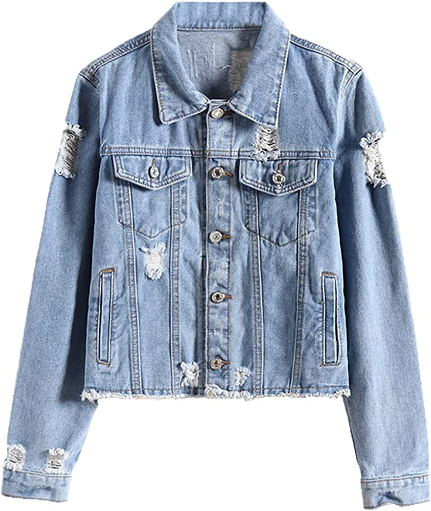 Women Ripped Denim Jacket Spring Autumn Cropped Blue Single Breasted Casual Loose Jacket Bomber Coat