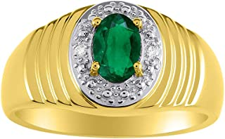 Genuine Diamond & Natural Oval Emerald Ring set in Yellow Gold Plated Silver