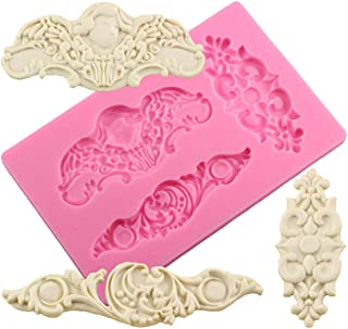 Neepanda DIY Baroque Style Scroll Cake Border Silicone Molds European Frame Cake Decorating Tools Baking Chocolate Fondant Brim Mould Curlicues Scroll Lace Fondant Silicone Mold Fimo Clay Mold(Pink)