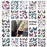 Bibivisa 3D Tatouage ephemere Femme, 170 x Fleur Papillon Tatouages temporaire pour Enfants Fille, Étanche décalcomanie Tatoo de fête d'anniversaire Cadeau