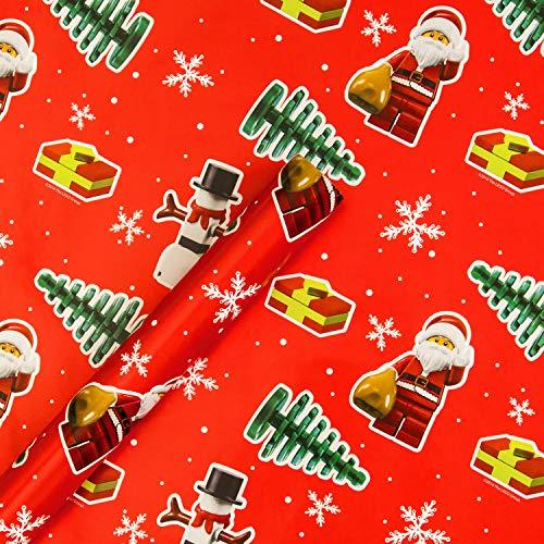 Hallmark Kerstmis inpakpapier - Lego Kerstman En Sneeuwman Ontwerp - 4M Roll