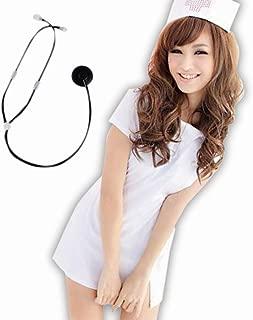 ROZZERMAN ナース服 コスチューム セクシー コスプレ 衣装 聴診器 付き セット (ホワイト)