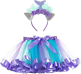 Lausana Layered Tulle Rainbow Tutu Skirt with Unicorn Headband & Hair Bow & Flower Crown Wreath Headband Girls 2-8T