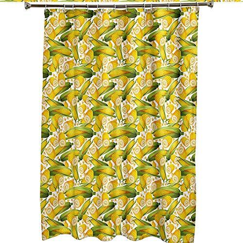 Duschvorhang 180x180 Shower Curtains Wasserdicht Antischimmel Waschbar Badewannenvorhang Textil Polyester Badezimmer Vorhang mit 12 Haken für Badezimmer Mais, Duschvorhang