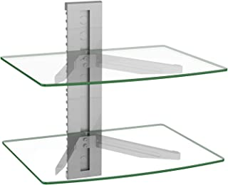 Best WALI CS202S Floating Wall Mounted Shelf with Transparent Strengthened Tempered Glass for DVD Players, Cable Boxes, Games Consoles, TV Accessories, 2 Shelf, Silver Reviews