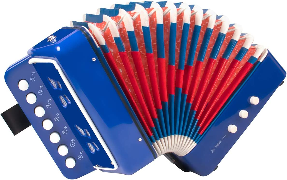 BLUE Horse Button Accordion,10 Keys Control Kids Accordion Musical Instruments for Kids Children Beginners Lightweight and Environmentally-friendly