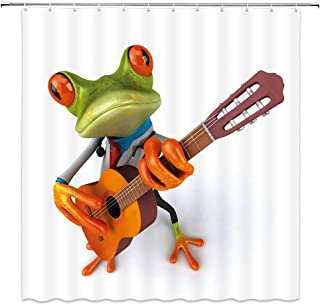 AMNYSF Frog Playing Guitar Decor White Shower Curtain Funny Cartoon Frogs With Music Instrument Cute Wildlife Fabric Bathroom Curtains,70x70 Inch Waterproof Polyester With 12pcs Hooks