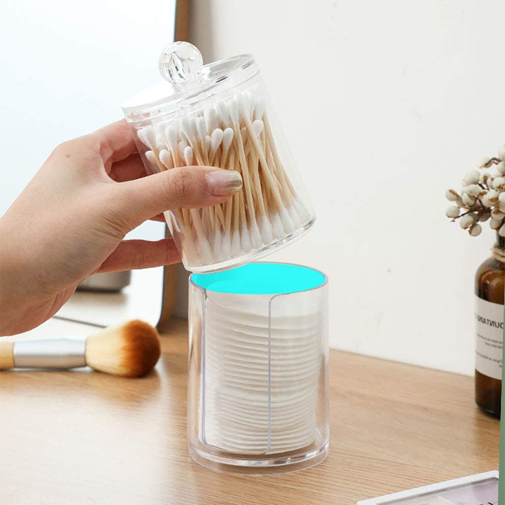 Qtip Holder Storage Canister Clear Plastic Jar for Cotton Ball,Cotton Swab,Q-Tips,Cotton Rounds AXX Qtip Dispenser Apothecary Jars Bathroom