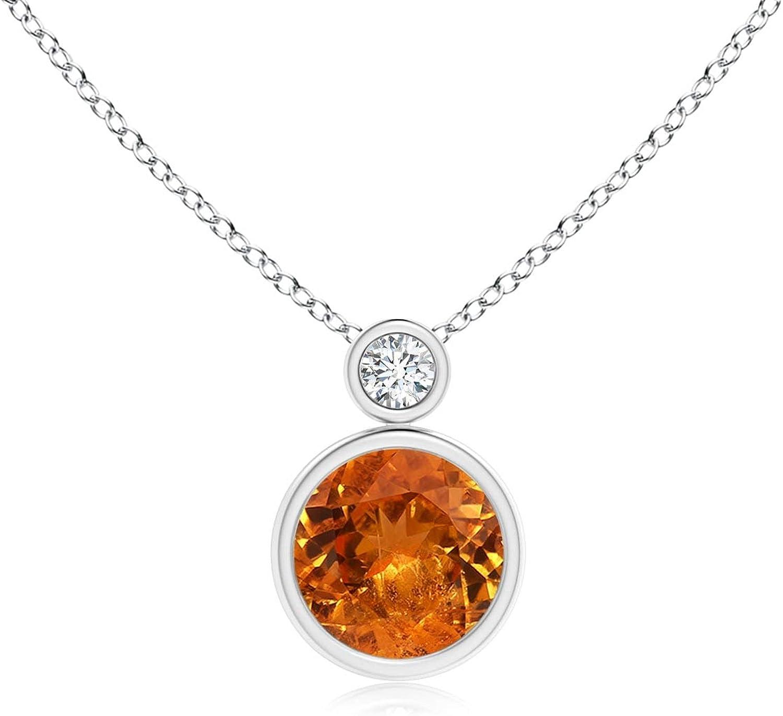 Bezel-Set Spessartite Solitaire Pendant Diamond with 6mm online shopping OFFicial shop Spessa