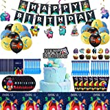 Among Us Birthday Decorations for Boys,112 Pcs Among Us Video Game Party Supplies with Banner, Cake Topper, Cupcake Toppers, tablecloth, Balloons