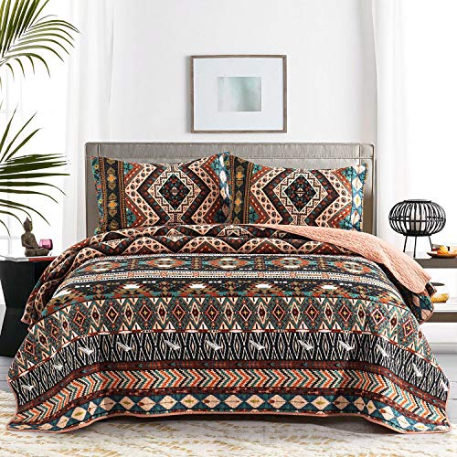 Honova Boho Quilt Set, Southwestern Design Bedspreads Twin Size 68'x86' with Birds Pattern Print, Soft Microfiber Lightweight Quilted Coverlet for All-Season