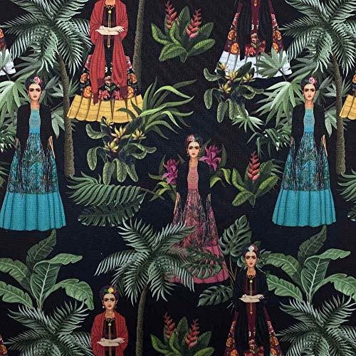 Kt KILOtela Tela por Metros de loneta Estampada Digital - Half Panamá 100% algodón - Ancho 280 cm - Largo a elección de 50 en 50 cm | Frida Kahlo, Noche - Multicolor, Negro