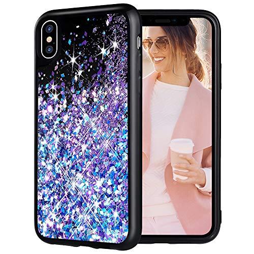 iPhone X Case, Caka iPhone Xs Glitter Case Bling Sparkle Luxury Fashion Flowing Floating Liquid Quicksand Waterfall Glitter Girly Girls Women Cute TPU Black Case for iPhone 10 X XS (Blue Purple)