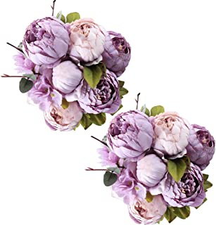Fule 2 Pack Large Artificial Peony Silk Flower Bouquets Arrangement Wedding Centerpieces (New Purple)