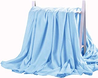DANGTOP Air Conditioning Cool Blanket with Bamboo Microfiber- All Seasons Thin Quilt for Adults and Teens(79X91 inches, Large Blue).