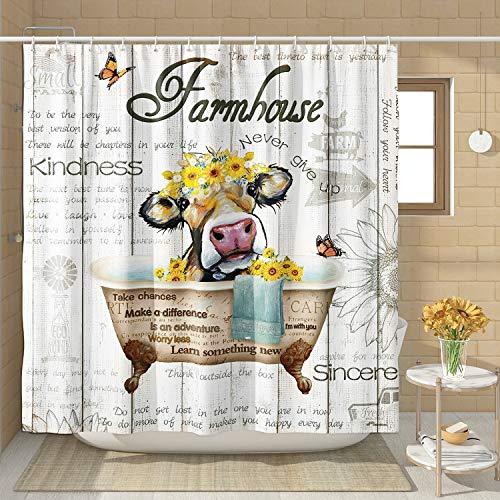 DESIHOM Lustiger Kuh-Duschvorhang mit Zitaten aus Holz, rustikaler Duschvorhang für Badezimmer, Polyester, 183 x 198 cm