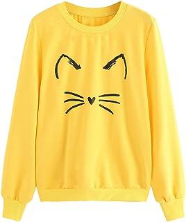 Romwe Women`s Cat Print Lightweight Sweatshirt Long Sleeve Casual Pullover Shirt