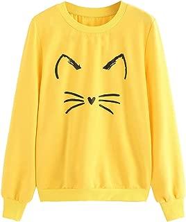 ROMWE Women's Cat Print Sweatshirt Long Sleeve Loose Pullover Shirt