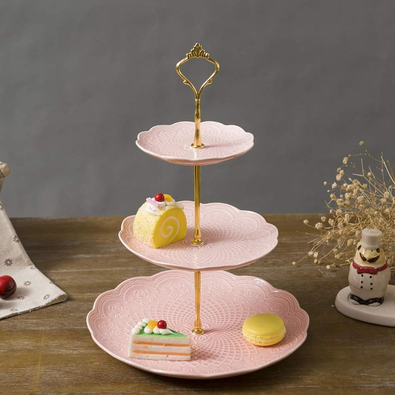 QYSZYG Support De Gateau Multicouche avec Le Plat en Céramique De Snack, Modèle Facultatif De Plat De Trois Couleurs élégant (Couleur   rose)