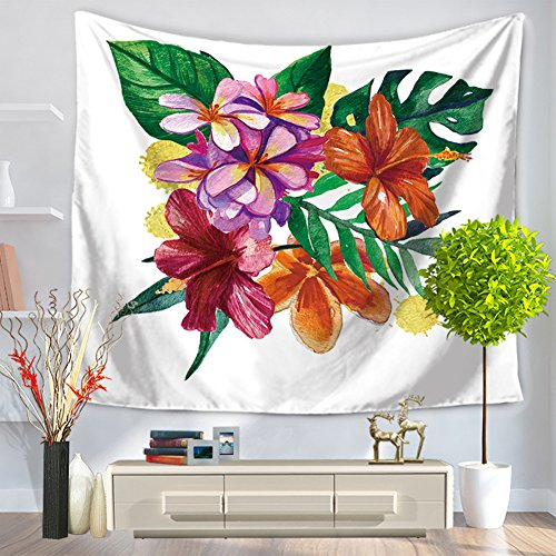 "ChezMax Modern Square Polyester Tapestry Multi Purpose Decorative Wall Hanging Mural Art Orange Flower Pattern 79"" X 59"""