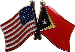 ALBATROS Pack of 12 USA American Timor Leste East Flag Hat Cap Lapel Pin for Home and Parades, Official Party, All Weather Indoors Outdoors