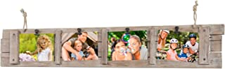 Collage Picture Frame Board from Rustic Distressed Wood: Holds Four 4x6 Photos: Ready to Hang with Rope Hooks. Shabby Chic, Driftwood, Barn Wood, Farmhouse, Reclaimed Wood Picture Frame Collage