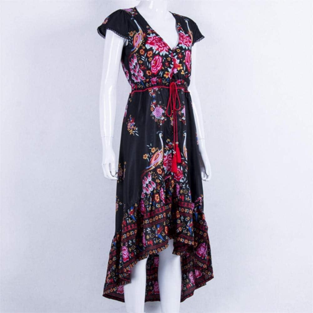 FWJSDPZ Summer Women V Neck Bargain sale Vintage 100% quality warranty! Floral Long Boho National Ch