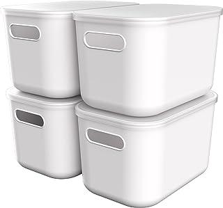 NoriaPipa Boite de Rangement Design en Plastique Blanc Recyclable Ultra Résistant | pour Bureau, Cuisine, Salle de Bain, M...
