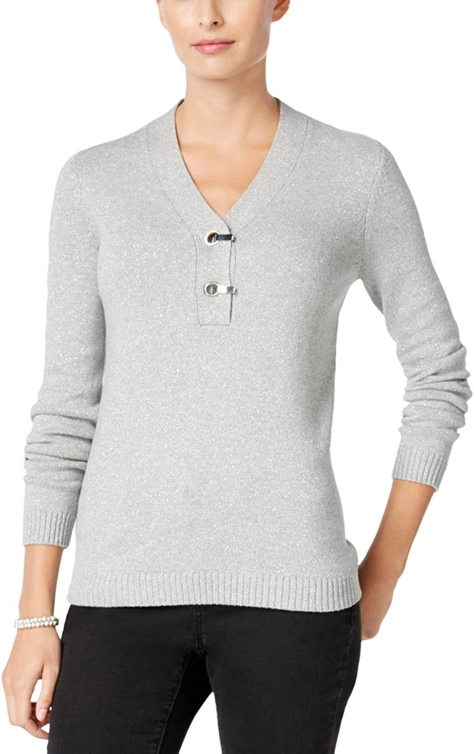 Charter Club Womens Metallic Clip Closure Decoration Henley Sweater
