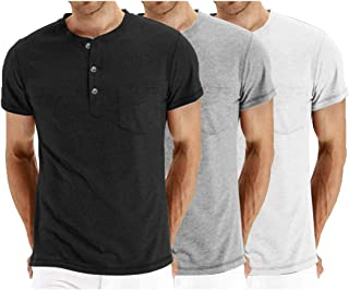 COOFANDY Men's 3Pack Henley Shirts Short Sleeve Casual Front Placket Basic Summer Solid T Shirts