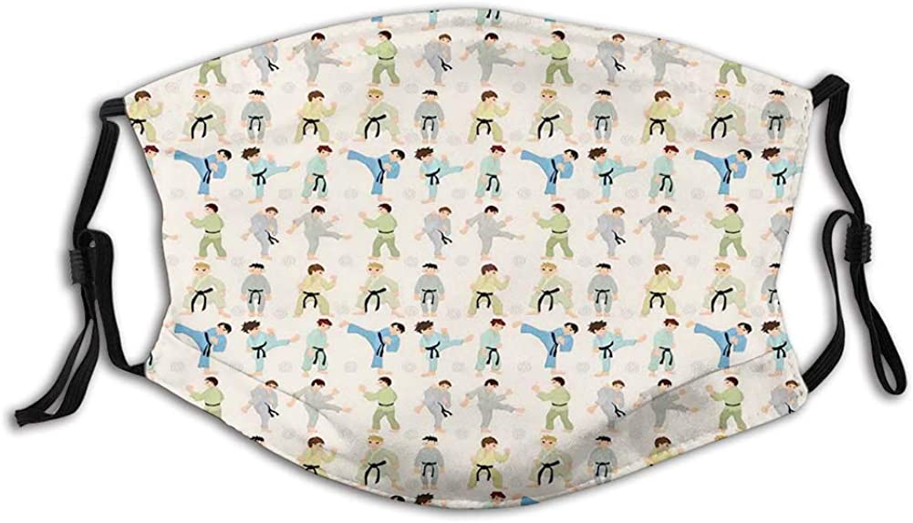 Cartoon Kids Karate Chinese Martial Art Boys Japanese Mouth Cover for Women,Face Mask Reusable Washable Cloth for Adult