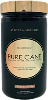 Pure Cane Natural Pre Workout Powder for Men & Women - No Artificial Sweeteners, Organically Sweetened, All Natural Flavor...