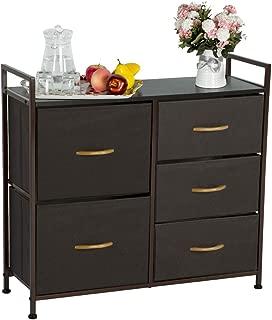 Aclumsy 5 Storage Drawer Units Dressers, Organizer Unit for Bedroom Closet Dresser, Closet Wardrobe, Entryway Storage Dresser, Hallway Room Storage - Brown