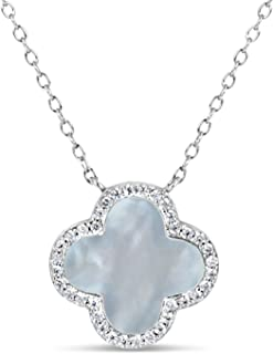 Designs by Helen Andrews Sterling Silver Mother of Pearl with Cubic Zirconia Clover Necklace, 16.5