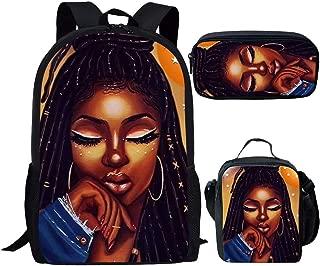 Smileygil Teenage School Bags Cute African Girls Backpack and Lunchbag for Kids Highschool Student Bagpack Set Afro Lady