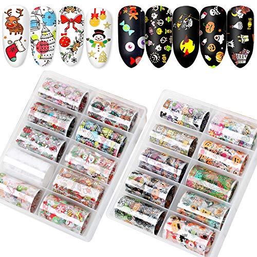 VINFUTUR Nail Art Foil, 20 Rollos Pegatinas Uñas Decorativas Halloween y Navidad Nail Art Transfer Foil Nail Stickers Láminas para Manicuras Diseños DIY Uñas