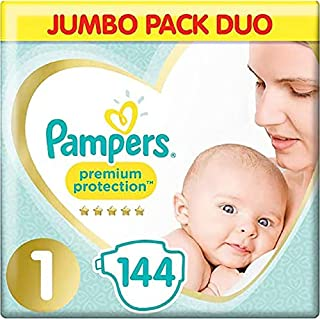 Pampers Baby Nappies Size 1 (2-5 kg / 4-11 lbs) Premium Protection(New Baby),144 Count, JUMBO PACK DUO, Baby Essentials ...