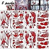 FITARTS Halloween Decorations Window Bloody Clings Stickers Zombie Haut Vampire Party Decals Bloodstain Supplies for Wall Door Floor Bathtub/Bathroom Haunted House Indoor Hand Prints Footprints