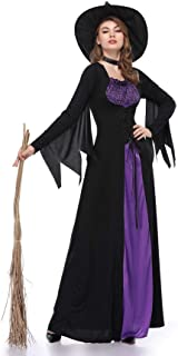 Aiybao Women Halloween Costumes Wicked Witch Cloak with Hat Dress,Purple Long Sorceress Classic Dress