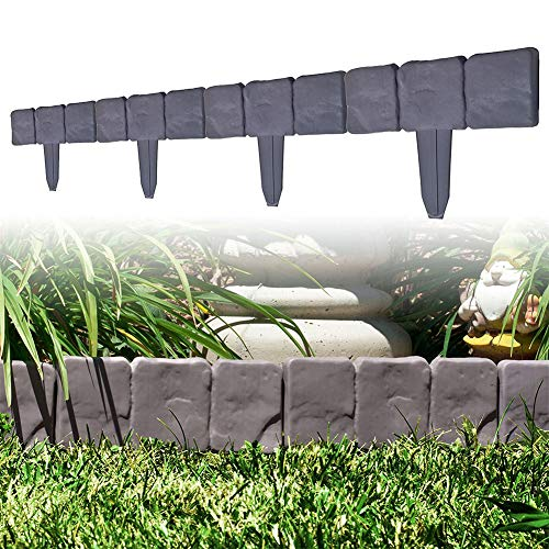 Grauer Stein-Effekt Rasenkante Pflanzen-Umrandung 10/20/30 Pack Pflasterstein-Effekt Kunststoff Garten Rasenkante Pflanzen-Umrandung DIY Deko...