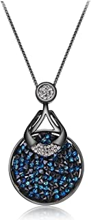 Crystal Lady Blue Crystals from Swarovski Gun Plated Round Pendant Necklaces for Women