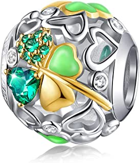 FOREVER QUEEN Lucky Clover Charm Bead 5A Cubic Zirconia 925 Sterling Silver Charms Pendant for Bracelets and Necklace for Women Girls with Elegant Gift Box